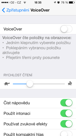 VoiceOver titul iOS