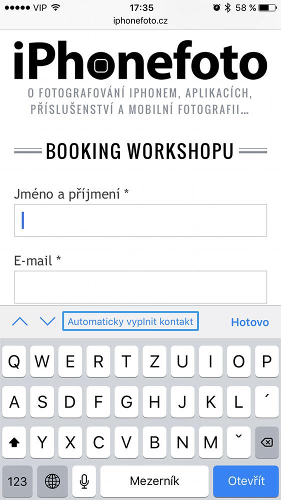 automatické vyplňování formulářů v Safari