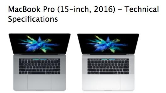 Označení MacBooků MacBook Pro 2016