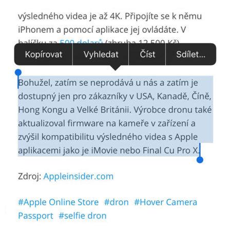 iOS, Univerzální schránka, copy and paste