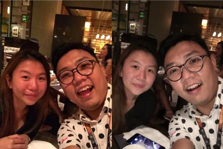 Porovnání selfie bez užití displeje a s bleskem
