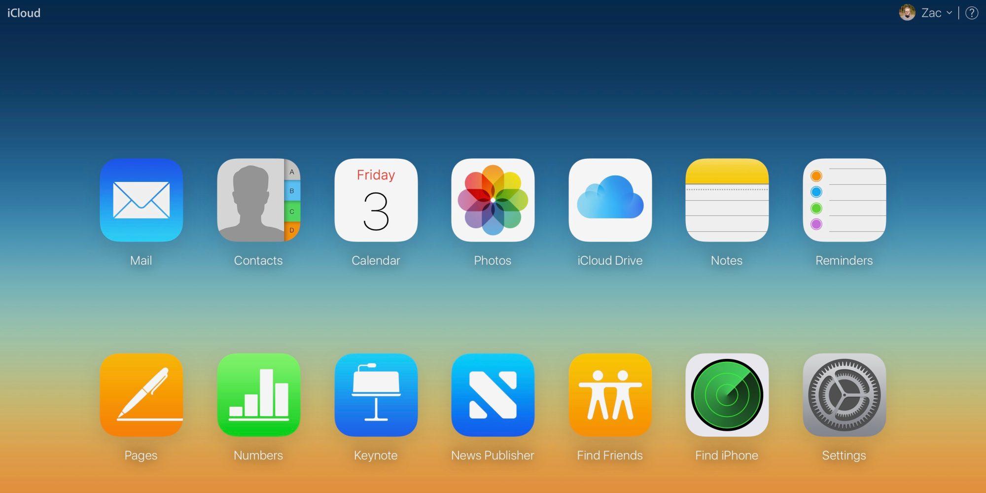 iCloud přihlášení