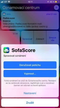 iOS 12 Oznamovací centrum