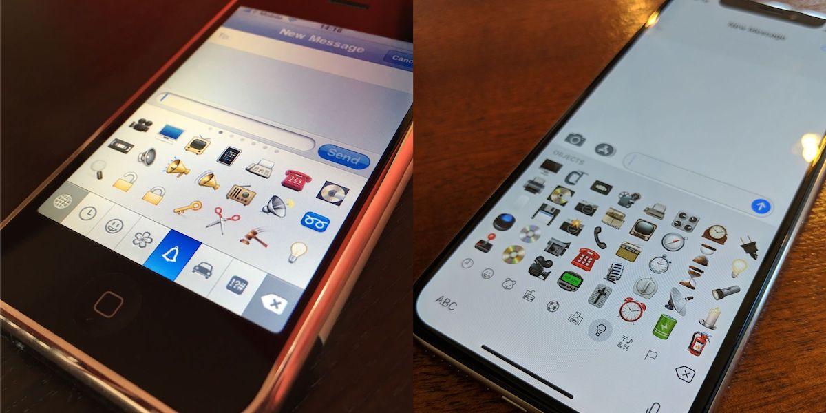 Srovnání emoji klávesnic - iPhone 3G vs iPhone Xs