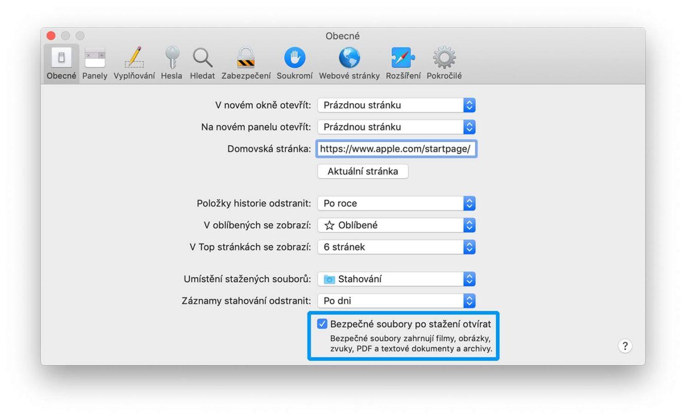 automatické otevírání stažených souborů na Macu