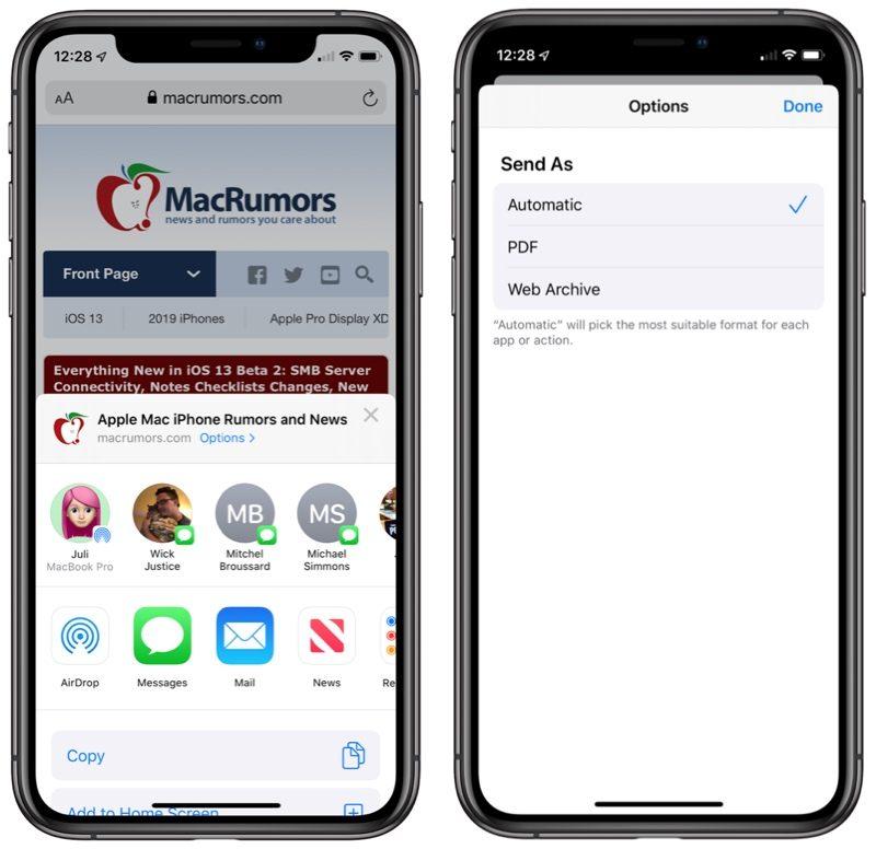 Sdílení webové stránky Safari iOS 13