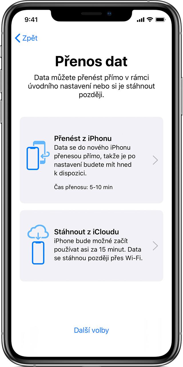 Migrace iPhonu Přenos dat