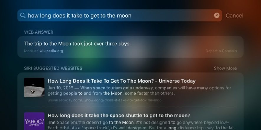 moon space shuttle - Apple testuje chytřejší odpovědi Siri v prostředí Spotlight