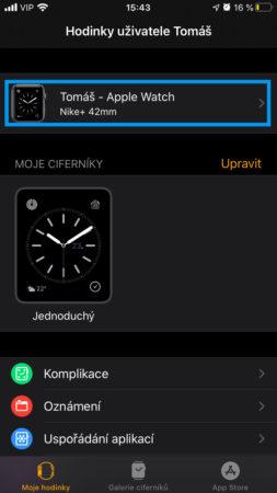 Apple Watch nastavení