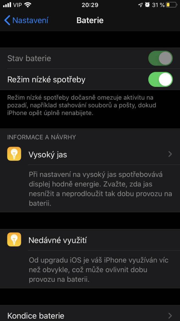 Baterie iOS 13