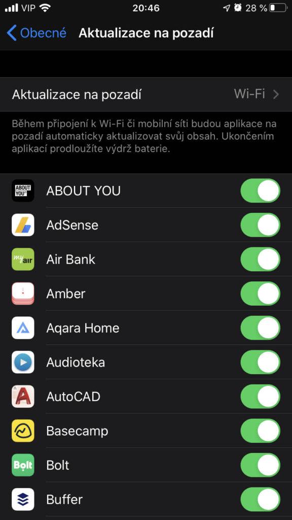 Aktualizace na pozadí iOS 13