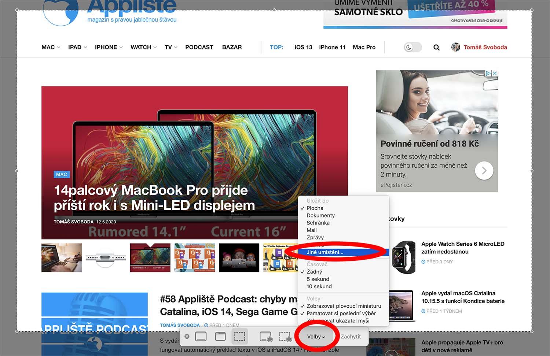 ukládání screenshotů na Macu