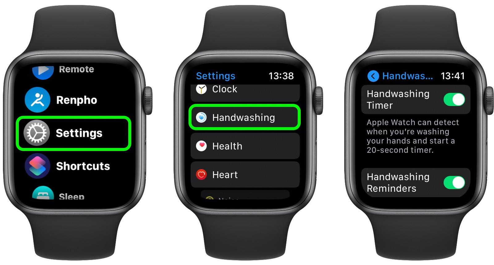 Mytí rukou Apple Watch