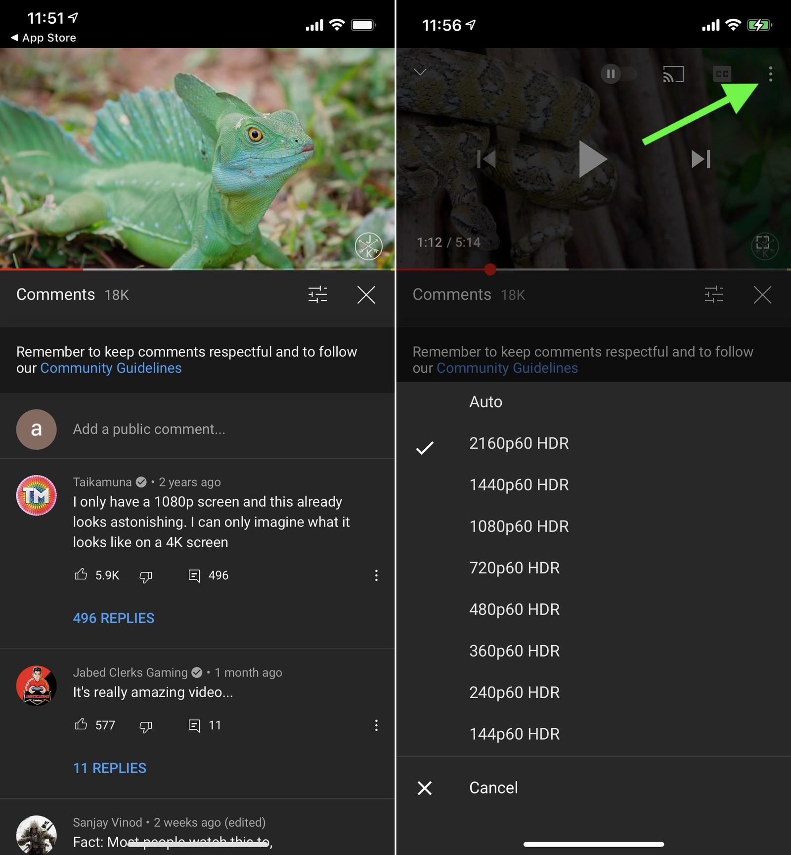 Aplikace YouTube HDR