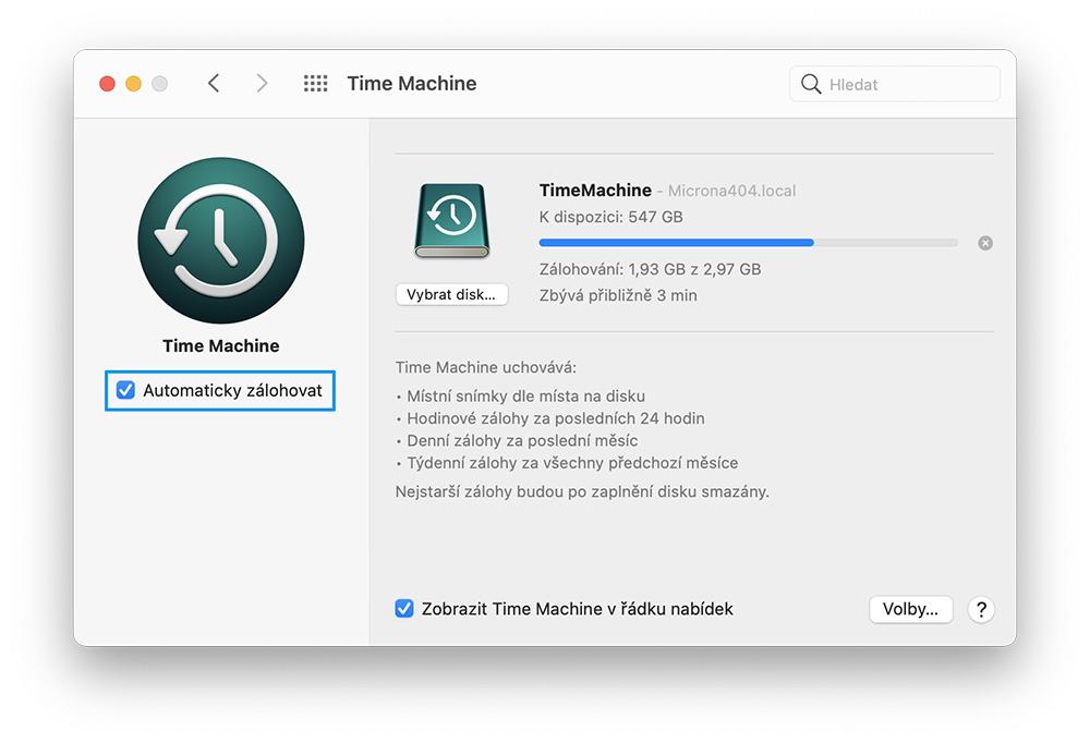 Time Machine automaticky zálohovat