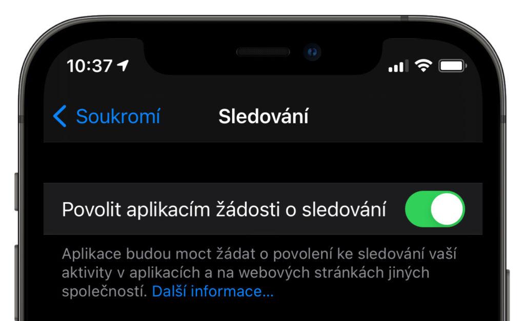 Nastavení sledování aplikací iOS