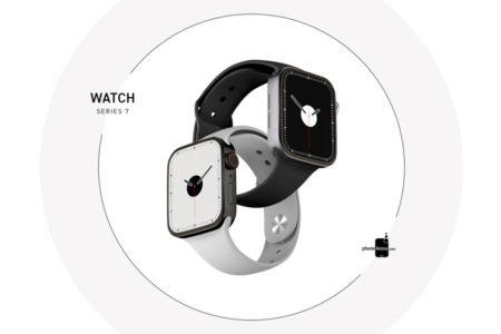Apple Watch Series 7 black white 450x300 - Dosud nejpovedenější rendery ukazují podobu Apple Watch Series 7